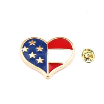 Enamel Heart American Flag Pin