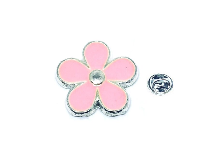 Pink Enamel Flower Lapel Pin