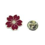 Red Enamel Flower Lapel Pin