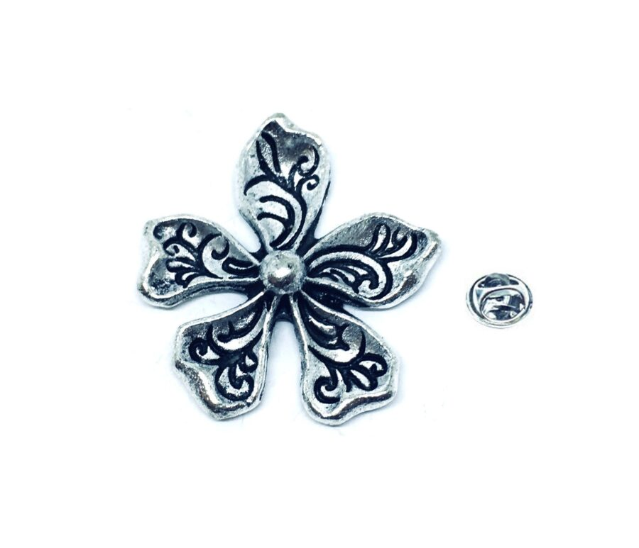 Silver tone Flower Pin