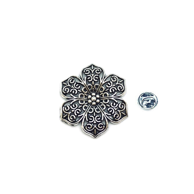 Silver plated Flower Lapel Pin