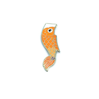 Orange Enamel Fish Lapel Pin