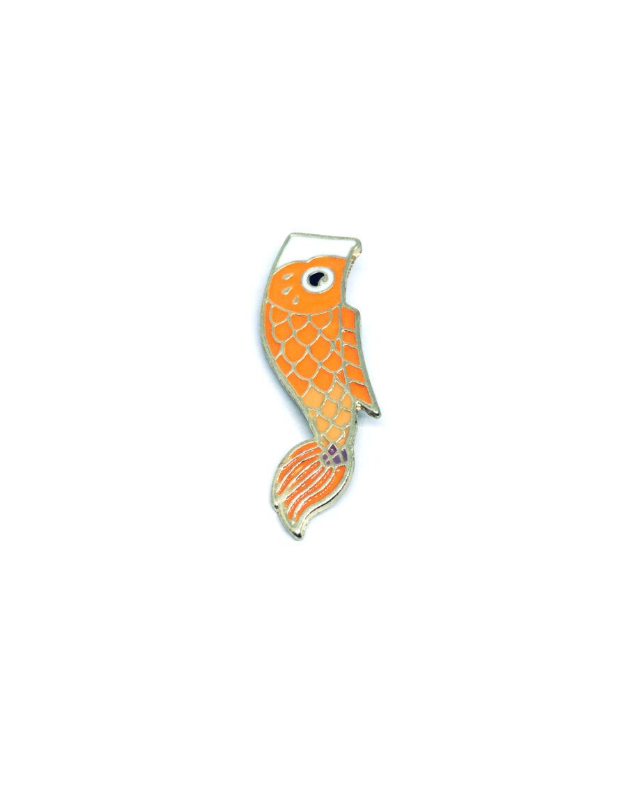 Orange Enamel Fish Lapel Pin