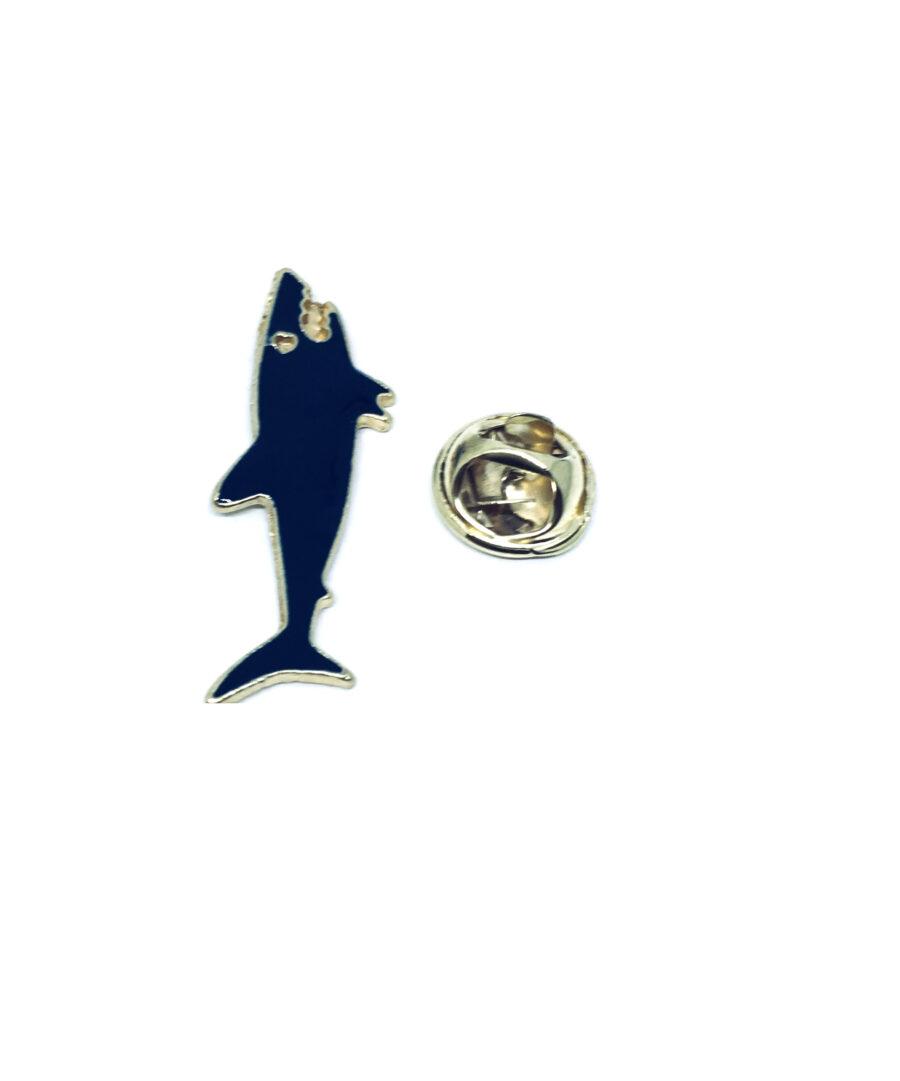 White Enamel Fish Lapel Pin