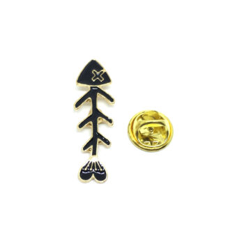 Black Enamel Fish Lapel Pin