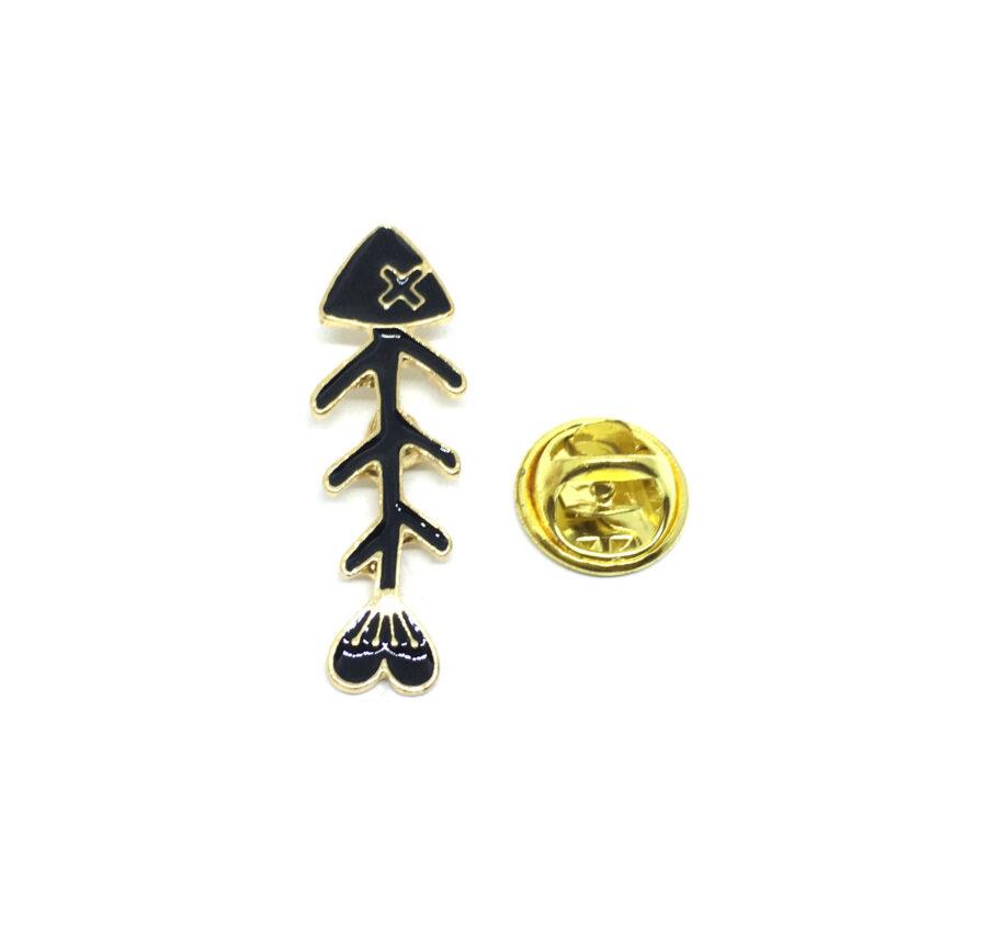 Black Enamel Fish Lapel Pin