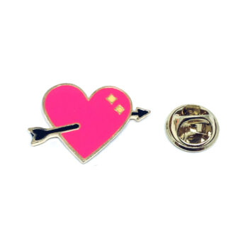 Arrow Enamel Heart Pin