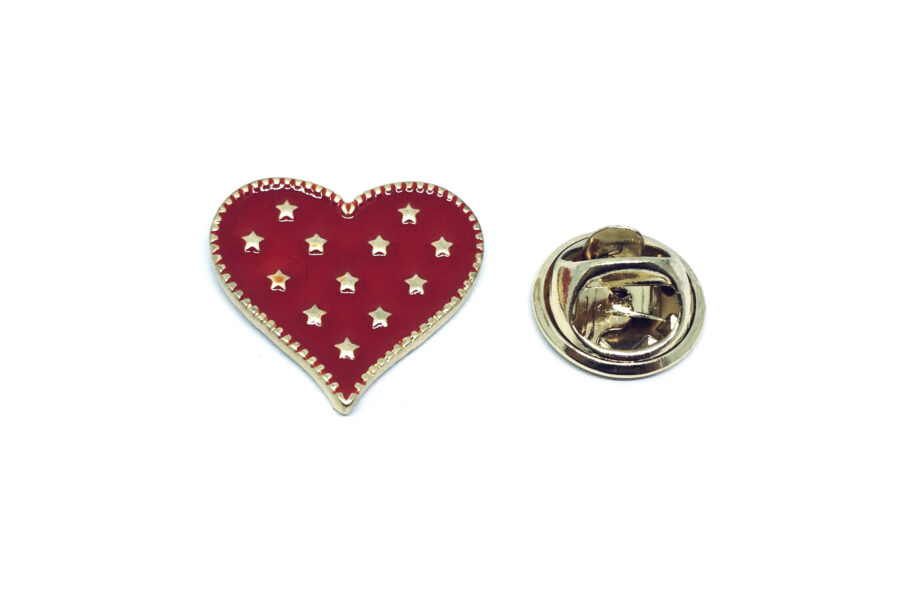 Star Enamel Heart Pin