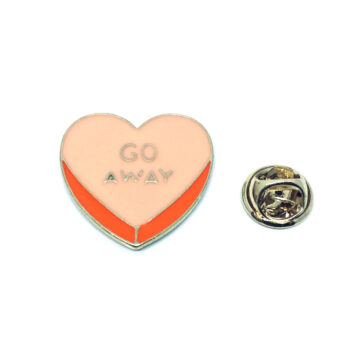 Go Away Enamel Heart Pin