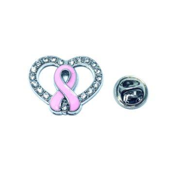 Crystal Pink Ribbon Lapel Pin