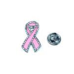 Crystal Pink Enamel Pink Ribbon Lapel Pin
