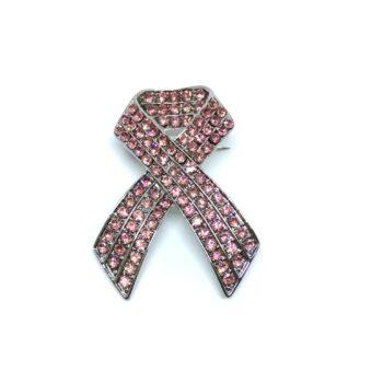 3 row Crystal Pink Ribbon Lapel Pin