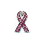 2 row Crystal Pink Ribbon Lapel Pin
