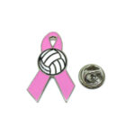 Volleyball Pink Ribbon Lapel Pin