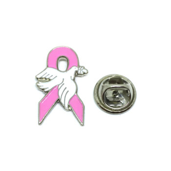 Dove Pink Ribbon Lapel Pin