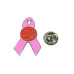 Basketball Pink Ribbon Lapel Pin