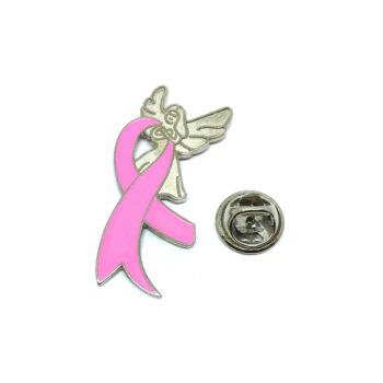 Angel Pink Ribbon Lapel Pin