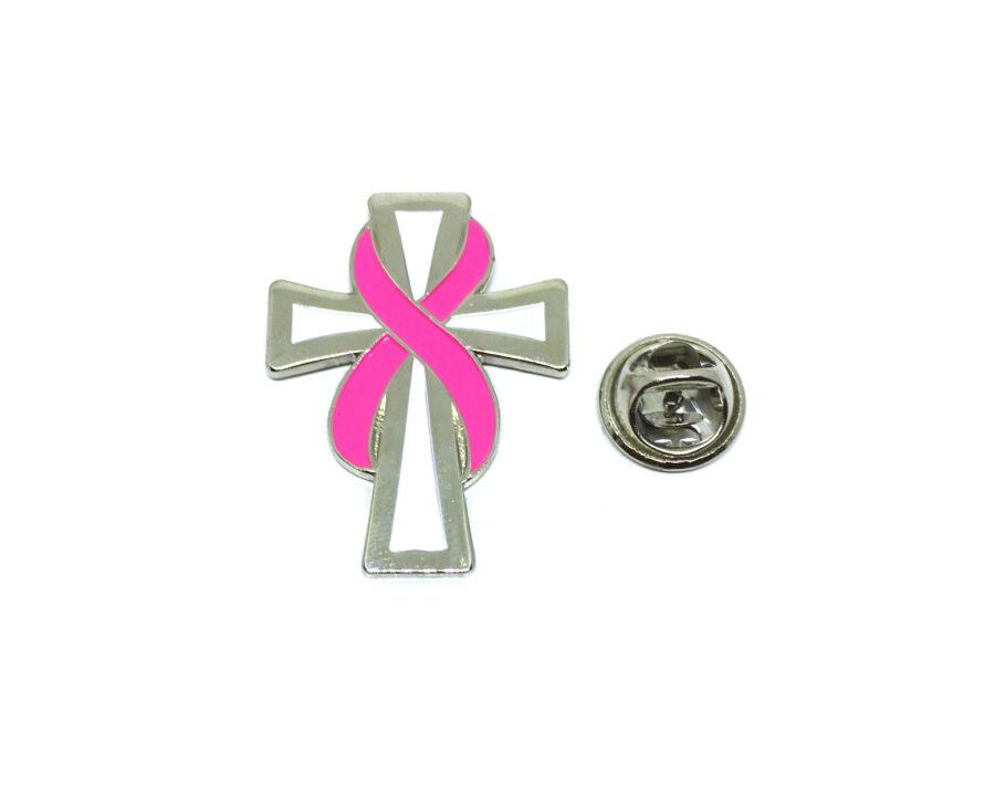 Cross Pink Ribbon Lapel Pin