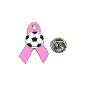 Soccer Pink Ribbon Lapel Pin