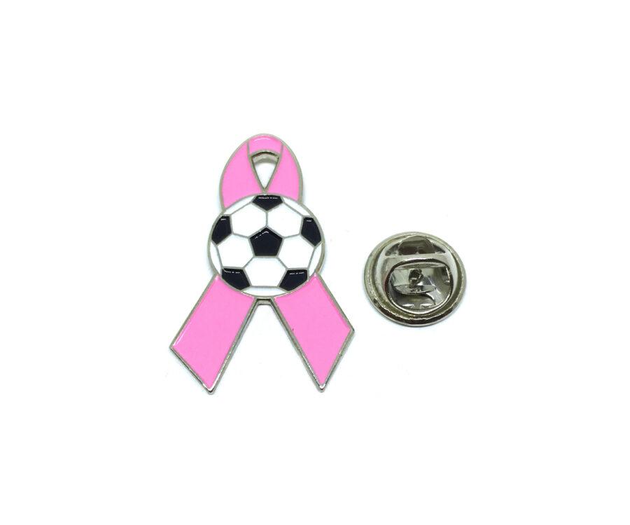 Soccer Pink Ribbon Lapel Pin
