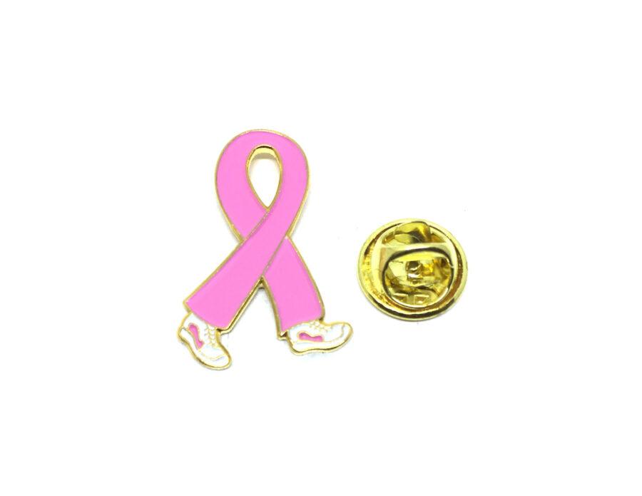 Walking Pink Ribbon Lapel Pin