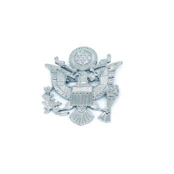 Silver tone Eagle Military Brooch Pin