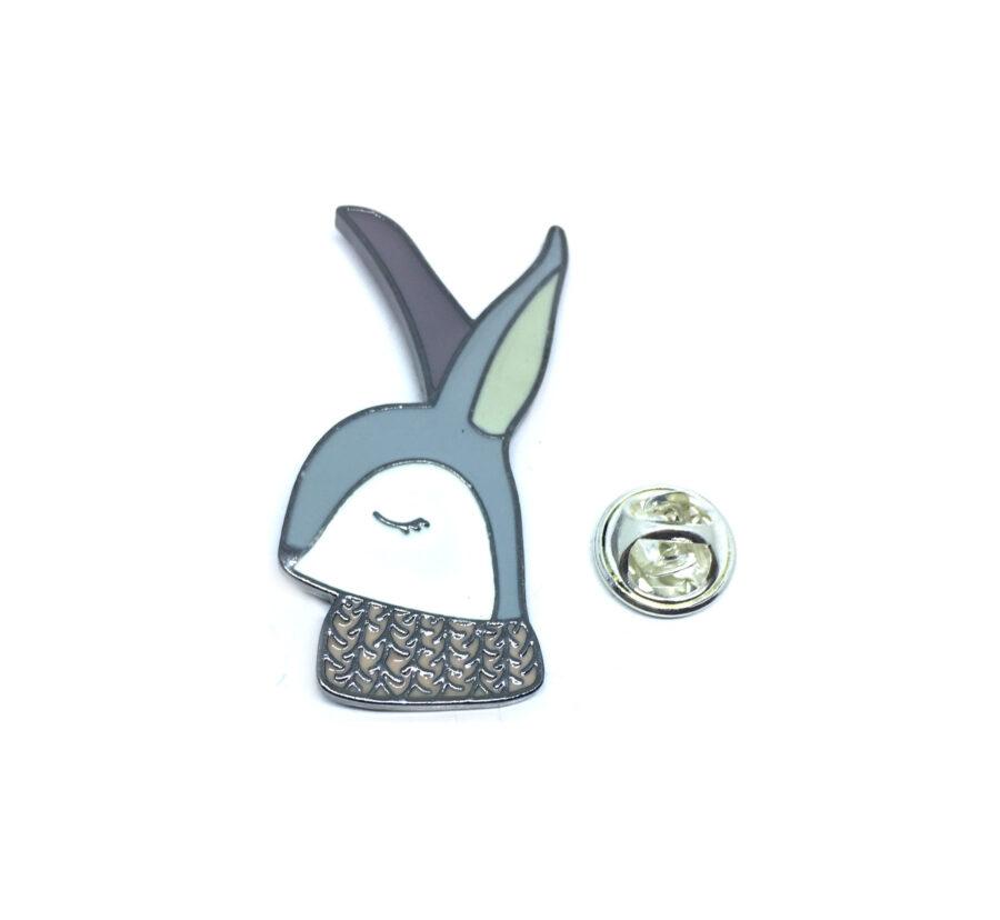 Black plated Enamel Rabbit Pin
