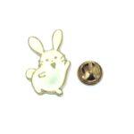 White Enamel Rabbit Lapel Pin
