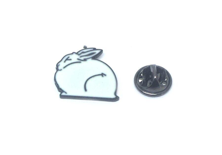 White Enamel Rabbit Pin