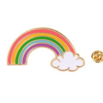 Gold tone Enamel Rainbow Pin