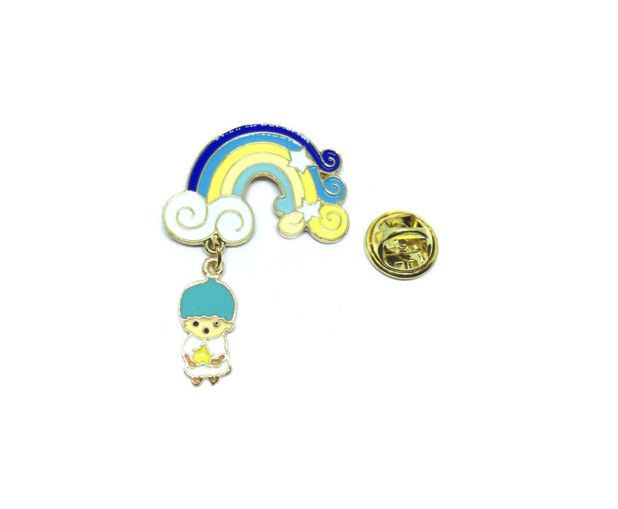Rainbow with Charm Enamel Lapel Pin
