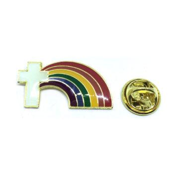 Cross Rainbow Lapel Pin