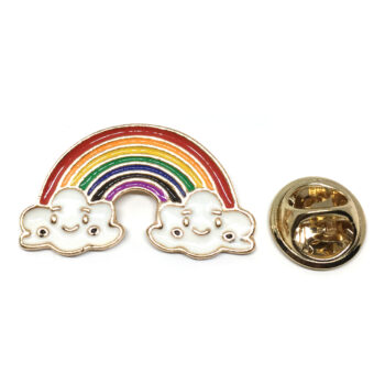 Gold plated Enamel Rainbow Brooch Pin