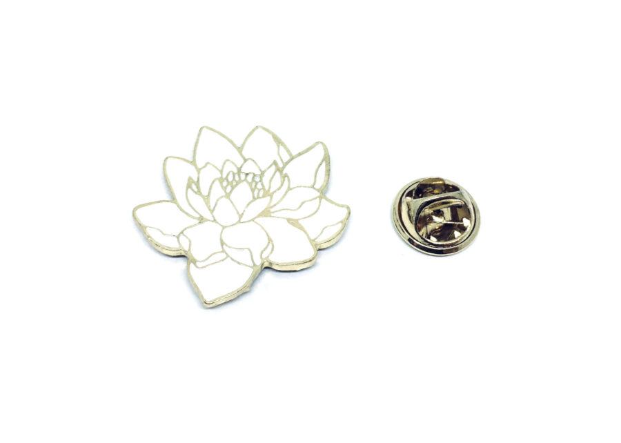 White Enamel Rose Lapel Pin