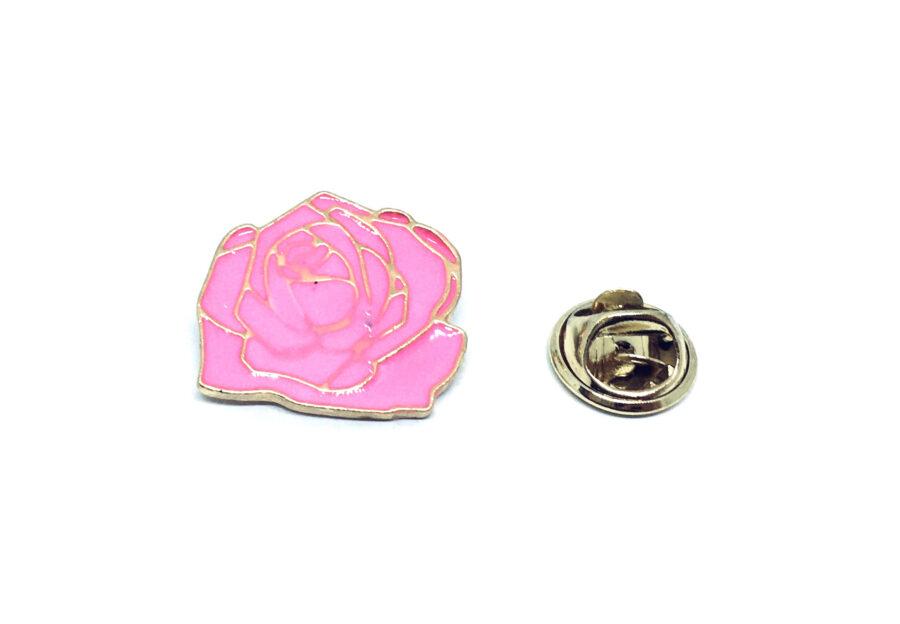 Pink Enamel Rose Lapel Pin