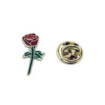 Gold plated Enamel Rose Lapel Pin