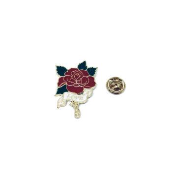 Gold tone Enamel Rose Lapel Pin