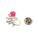 Gold tone Enamel Rose Pin