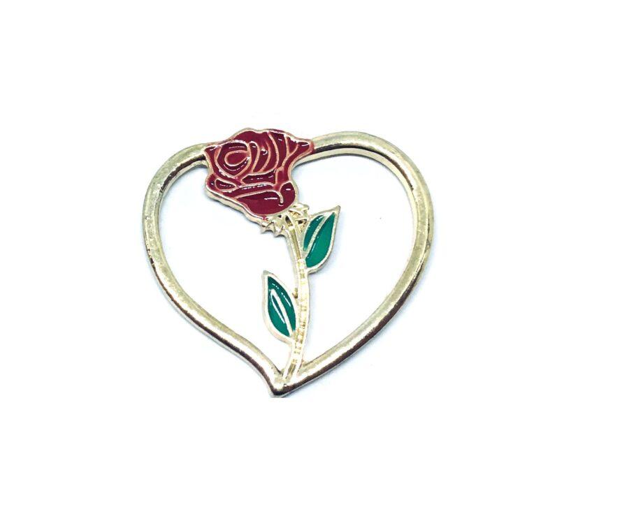 Heart Rose Enamel Lapel Pin