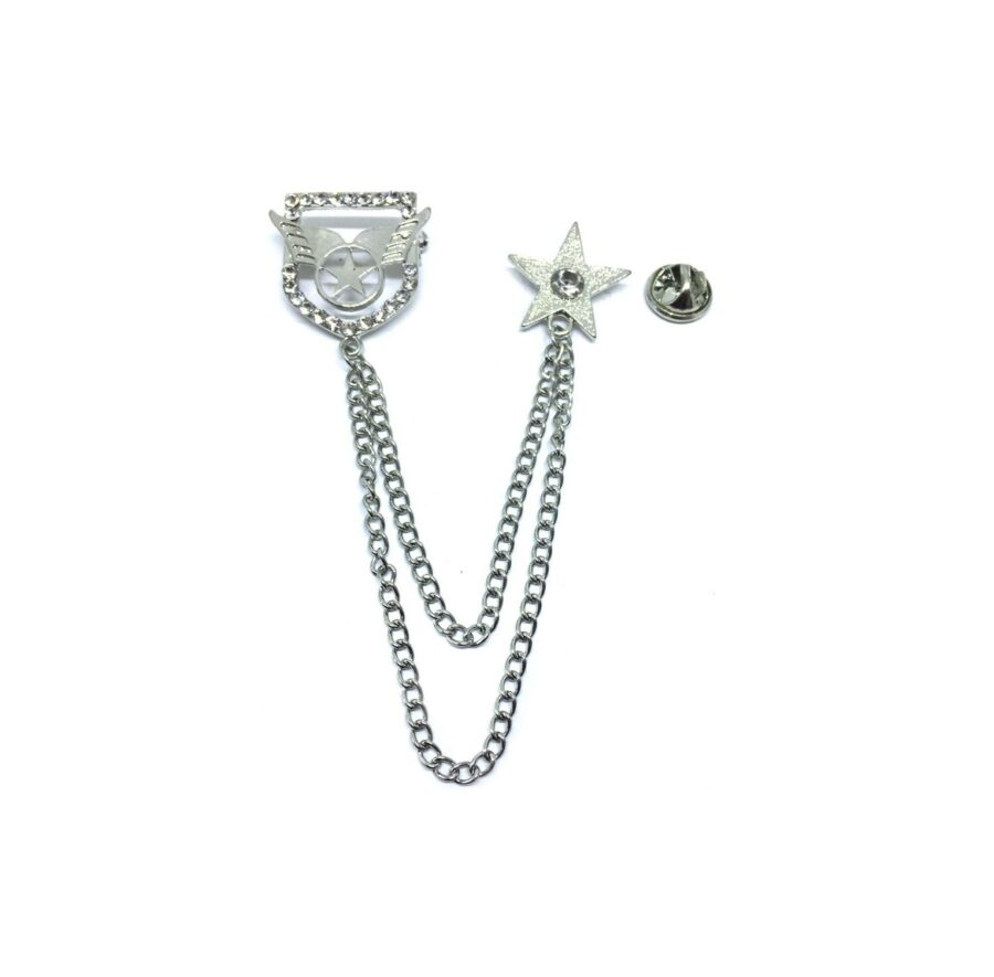 Star charm Chain with Star Lapel Pin