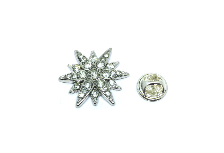 Silver plated Crystal Star Lapel Pin