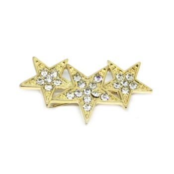 Gold plated Crystal Star Brooch Pin