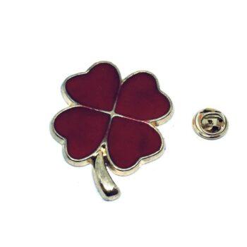 Red Enamel Shamrock Lapel Pin