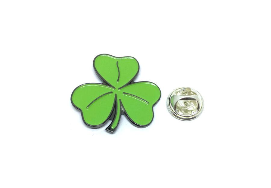 Black plated Green Enamel Shamrock Lapel Pin
