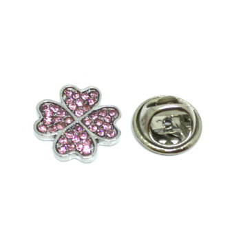 Pink Crystal Shamrock Lapel Pin