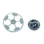 White Enamel Soccer Sport Pin