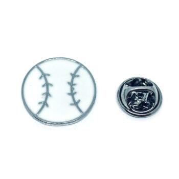 White Enamel Baseball Sport Pin