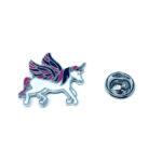 Silver tone Enamel Unicorn Lapel Pin