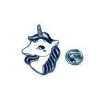 Silver tone Enamel Unicorn Pin