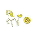 White & Yellow Enamel Unicorn Lapel Pin